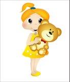 девушка медведя играя игрушечный Стоковые Фотографии RF