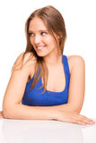девушка над представлять белизну Стоковое Изображение RF