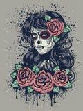 девушка дня мертвая иллюстрация вектора