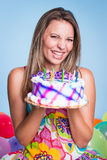 девушка дня рождения счастливая стоковая фотография rf