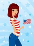 девушка патриотическая Стоковое Изображение RF