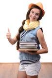 девушка предпосылки над белизной подростка студии всхода Стоковая Фотография RF