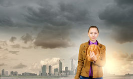 девушка предпосылки над белизной подростка студии всхода Стоковое Изображение