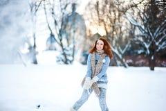 девушка пущи снежная Стоковые Изображения RF