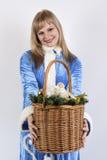 девушка снега с корзиной Стоковая Фотография