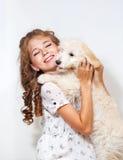 девушка собаки немногая Стоковые Изображения RF
