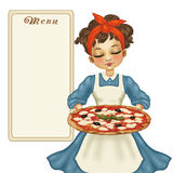 девушка с пиццей Стоковое Изображение
