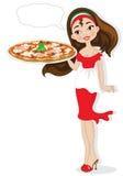 девушка с пиццей Стоковые Фотографии RF