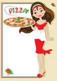 девушка с пиццей Стоковое Изображение RF