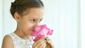 девушка цветка немногая подняла Стоковое Изображение