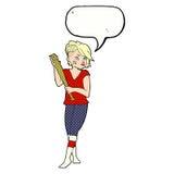 девушка шаржа милая панковская с бейсбольной битой с пузырем речи Стоковая Фотография RF
