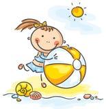 девушка шарика немногая иллюстрация вектора