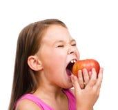 девушка яблока немногая красное Стоковые Изображения RF