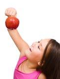 девушка яблока немногая красное Стоковая Фотография