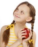 девушка яблока немногая красное Стоковое Изображение