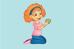 девушка яблока сдерживая Стоковое Фото