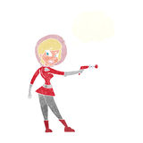 девушка fi sci шаржа с пузырем мысли Стоковое Изображение RF