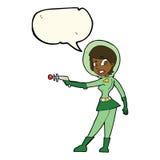 девушка fi sci шаржа с пузырем речи Стоковое Фото