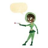 девушка fi sci шаржа с пузырем речи Стоковые Фотографии RF
