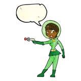 девушка fi sci шаржа с пузырем речи Стоковое Изображение