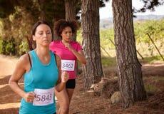 2 девушки бежать гонка страны Стоковые Изображения