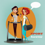 2 девушки беседуя в центре спортзала Стоковая Фотография RF