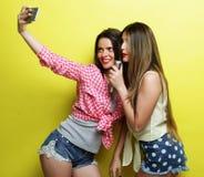 2 девушки битника красоты с микрофоном принимают selfi Стоковое Фото