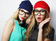 2 девушки битника лучших другов Стоковая Фотография RF