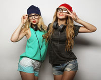 2 девушки битника лучших другов Стоковое Изображение RF