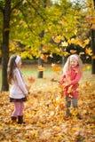 2 девушки бросая листья в парке осени Стоковое Изображение RF