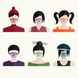 девушки вектора дизайна установленные японские в медицинских масках Стоковые Фотографии RF