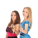 2 девушки выпивают духи к selebrate превосходный выбор Стоковые Изображения RF