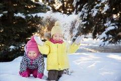 2 девушки в лесе зимы Стоковая Фотография