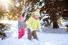 2 девушки в лесе зимы Стоковые Фото