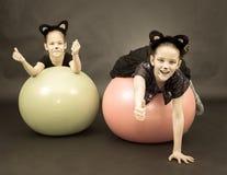 2 девушки в костюмах кота на шариках фитнеса на черной предпосылке i Стоковые Изображения RF