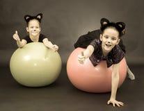 2 девушки в костюмах кота на шариках фитнеса на черной предпосылке i Стоковая Фотография RF
