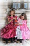 2 девушки в пинке для рождества Стоковая Фотография RF