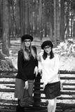 2 девушки в древесине Стоковые Фотографии RF