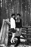 2 девушки в древесине Стоковое фото RF