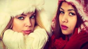 2 девушки в теплом портрете одежды зимы Стоковое Изображение