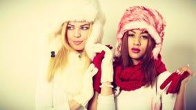 2 девушки в теплом портрете одежды зимы Стоковое Изображение RF