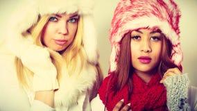 2 девушки в теплом портрете одежды зимы Стоковые Фотографии RF