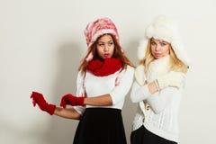 2 девушки в теплом портрете одежды зимы Стоковая Фотография RF