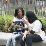 2 девушки говоря, сидя сторона - мимо - встают на сторону на парапете Стоковые Фото