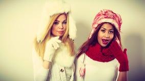 2 девушки греют одежду зимы имея потеху Стоковое фото RF