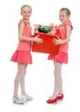 2 девушки держат подарок Стоковые Фотографии RF