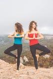 2 девушки делают йогу в ландшафте гор Стоковое Фото