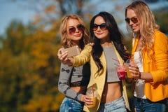 3 девушки делают selfie в парке Стоковые Изображения