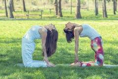 2 девушки делая йогу Стоковая Фотография RF