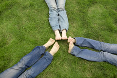 девушки засевают лежать травой Стоковая Фотография RF
